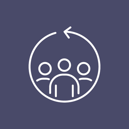 Teamwork business people icon simple line flat illustration. Illustration
