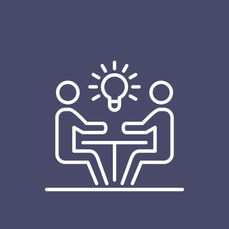 Teamwork business people icon simple line flat illustration. Çizim