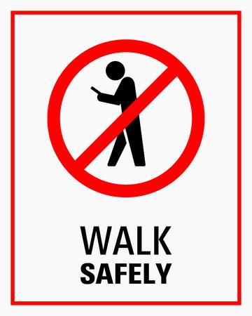 歩行看板イラストをしながらスマートフォンを使用。