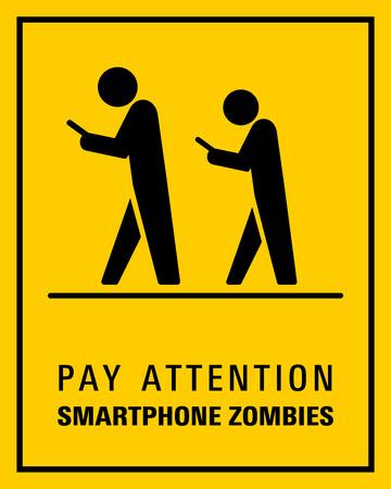 Usando teléfono inteligente mientras camina ilustración de signo.