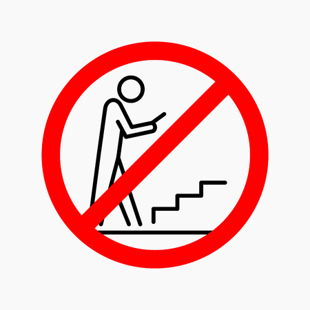 Phone using not allowed sign flat illustration.