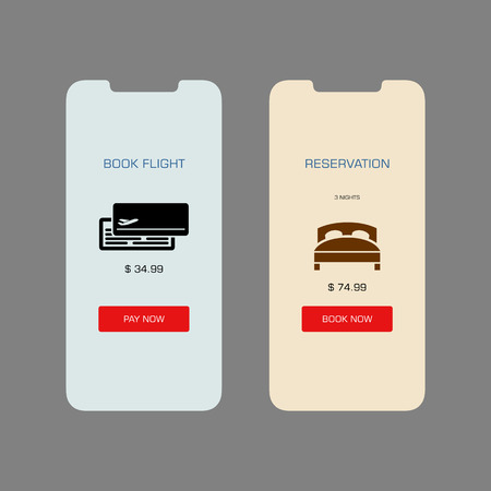 Smartphone screen with book hotel flight application ui flat style illustration. 向量圖像