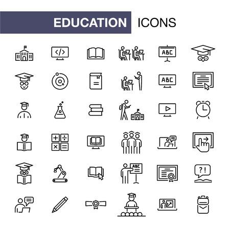 Los iconos de educación establecen ilustración de esquema de estilo plano simple. Ilustración de vector