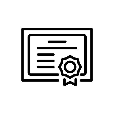 Graduation diploma icon simple flat style outline illustration.