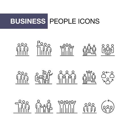 Business people icons set simple line flat illustration.