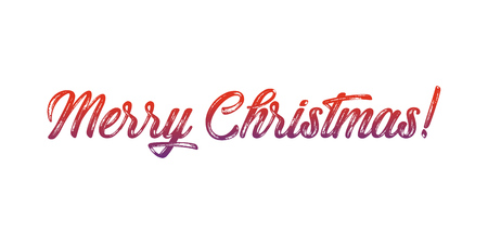 Merry Christmas lettering, vector illustration. Christmas greeting card text. Ilustração