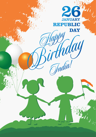 India Republic Day greeting card design vector illustration. 26 January - Republic day of India. Imagens - 127472067