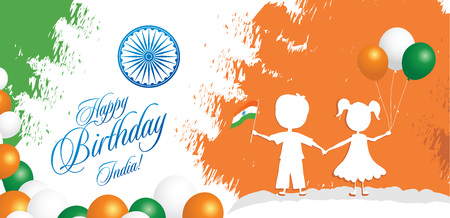 India Republic Day greeting card design vector illustration. 26 January - Republic day of India. Imagens - 127472070