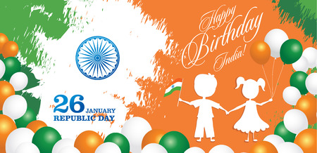 India Republic Day greeting card design vector illustration. 26 January - Republic day of India. Imagens - 127472072