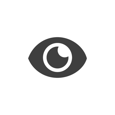 Eye lens medical icon simple flat illustration.