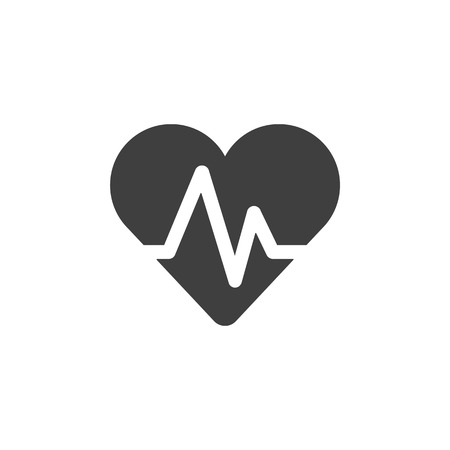 Pulse hearbeat medical icon simple flat illustration.