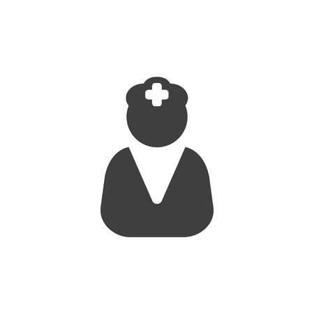 Doctor nurse medical icon simple flat illustration.