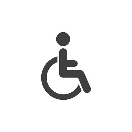 Disabled man armchair medical icon simple flat illustration. Ilustração