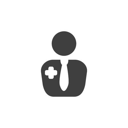 Doctor nurse medical icon simple flat illustration.
