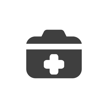 Medical kit case icon simple flat illustration. Illustration