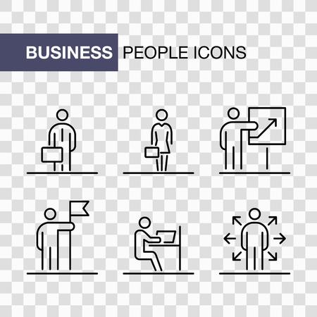 Business people icons set simple line flat illustration isolated. Ilustração