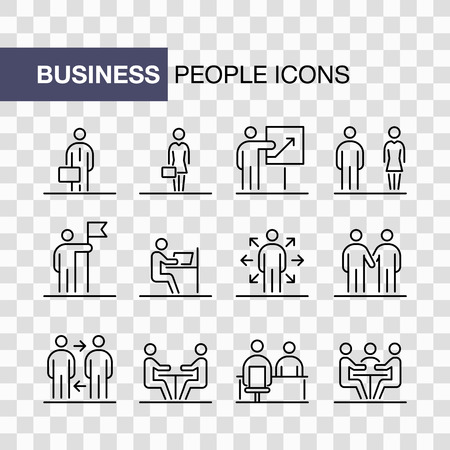 Business people icons set simple line flat illustration isolated. Illustration