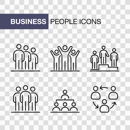 Business people icons set simple line flat illustration isolated. Ilustração