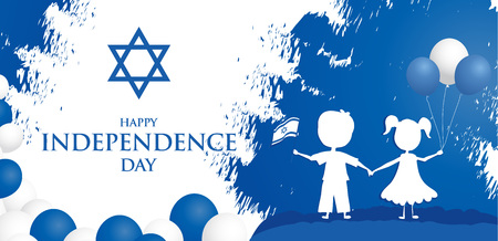 Happy independence day of Israel. Israel festive day on April 19. Ilustração