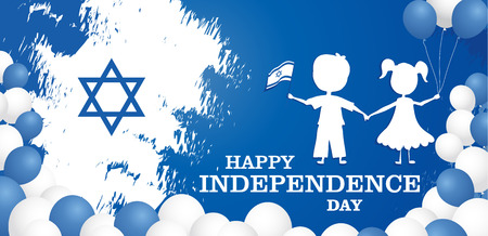 Happy independence day of Israel. Israel festive day on April 19. Imagens - 124737157