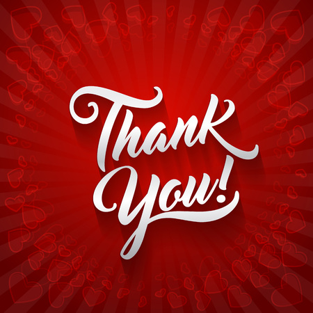 Thank you beautiful lettering text vector illustration. Thank You greeting card for presentation slide.