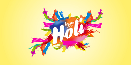 Happy Holi greeting with colorful background illustration.