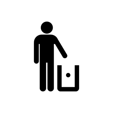Trash to bin packaging symbol simple flat style icon isolated.