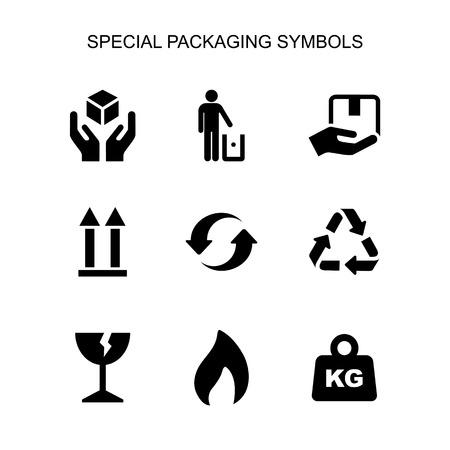 Los símbolos de embalaje establecen un icono de estilo plano simple aislado.
