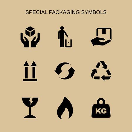 Packaging symbols set simple flat style icon isolated. Ilustração