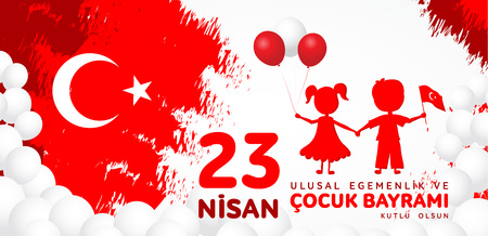 23 nisan cocuk baryrami. Translation: Turkish April 23 Children's day. Imagens - 124241546