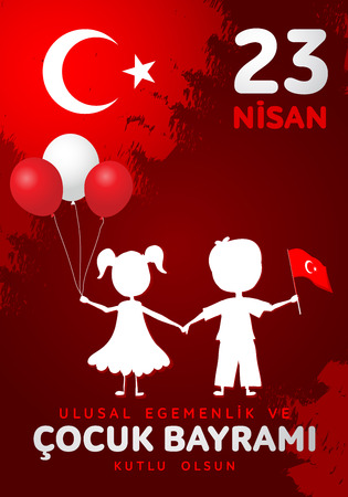 23 nisan cocuk baryrami. Translation: Turkish April 23 Children's day. Imagens - 124241547