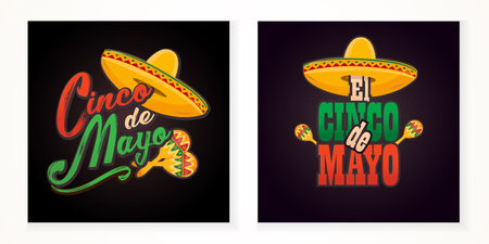Cinco de Mayo lettering greeting text illustration. Imagens - 124044855