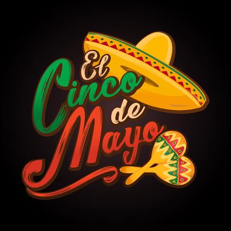 Cinco de Mayo lettering greeting text illustration. Imagens - 124044856