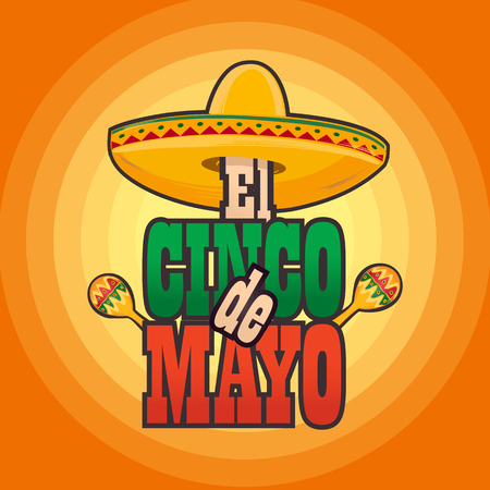 Cinco de Mayo lettering greeting text illustration. Imagens - 124044861