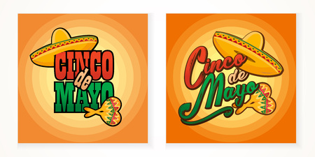 Cinco de Mayo lettering greeting text illustration. Imagens - 124044863