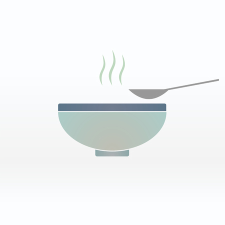 Soup in the bowl vector sign illustration icon symbol simple soup image. Ilustrace