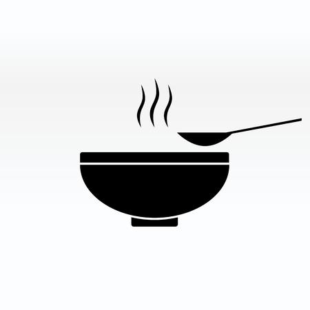 Soep in de kom vector teken illustratie pictogram symbool eenvoudige soep afbeelding.