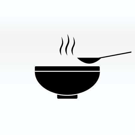 Soup in the bowl vector sign illustration icon symbol simple soup image. Ilustracja