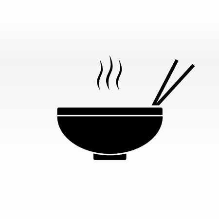 Noodles in the bowl vector sign illustration icon symbol simple soup image. Ilustrace