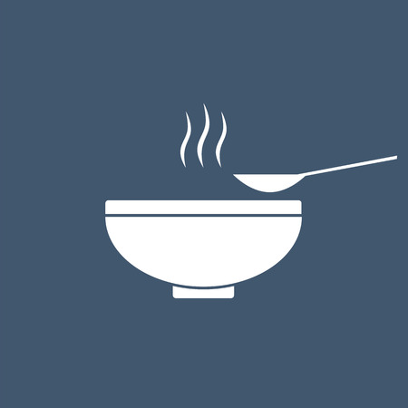 Soup in the bowl vector sign illustration icon symbol simple soup image. Stock Illustratie
