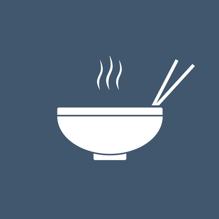 Noodles in the bowl vector sign illustration icon symbol simple soup image. Ilustração