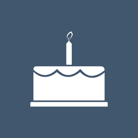 Birthday cake icon vector illustration. Happy birthday. Cake for birthday celebration with the candle.