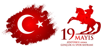 19 mayis Ataturk'u anma, genclik ve spor bayrami. Traduction du turc: 19 mai commémoration d'Ataturk, journée de la jeunesse et des sports. Vecteurs