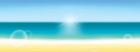 Summer background vector illustration. Blurred summer beach, sun, sky, sea, ocean and sand. Summer landscape for background.
