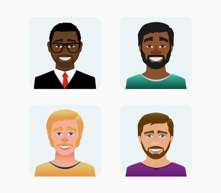 Characters avatars profile in flat cartoon style color illustration. Imagens - 123598354