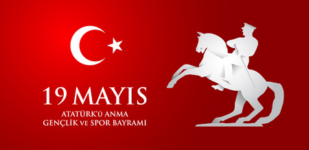 19 mayis Ataturk'u anma, genclik ve spor bayrami. Translation from turkish: 19th may commemoration of Ataturk, youth and sports day. Imagens - 123598356