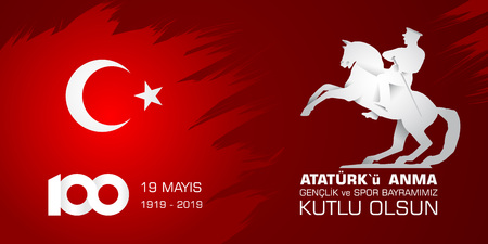 19 mayis Ataturku anma, genclik ve spor bayrami. Translation from turkish: 19th may commemoration of Ataturk, youth and sports day. Ilustração