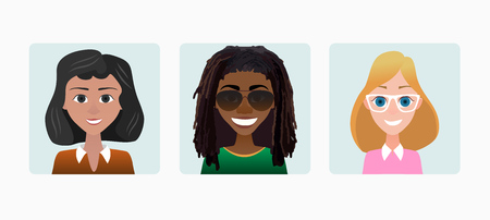 Characters avatars woman female profile in flat cartoon style color illustration.