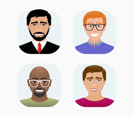 Profil d'avatars de personnages en illustration de couleur de style dessin animé plat.