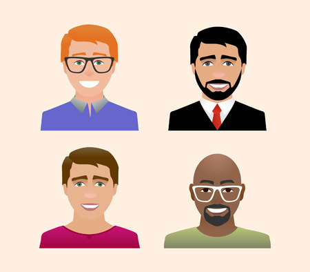 Characters avatars profile in flat cartoon style color illustration.